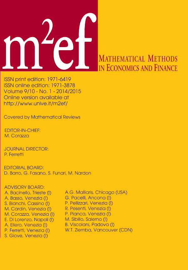Mathematical Methods in Economics and Finance - Cover